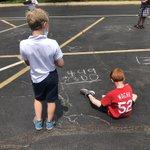 Image for the Tweet beginning: Sidewalk chalk, sunshine, and math...they