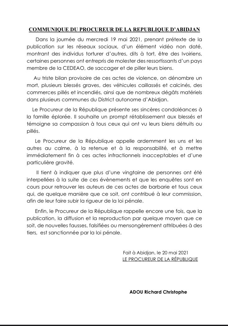 """Côte d'Ivoire-Niger/ Le Procureur Adou Richard va frapper: """"Succès"""", la pyromane arrêtée ?"""