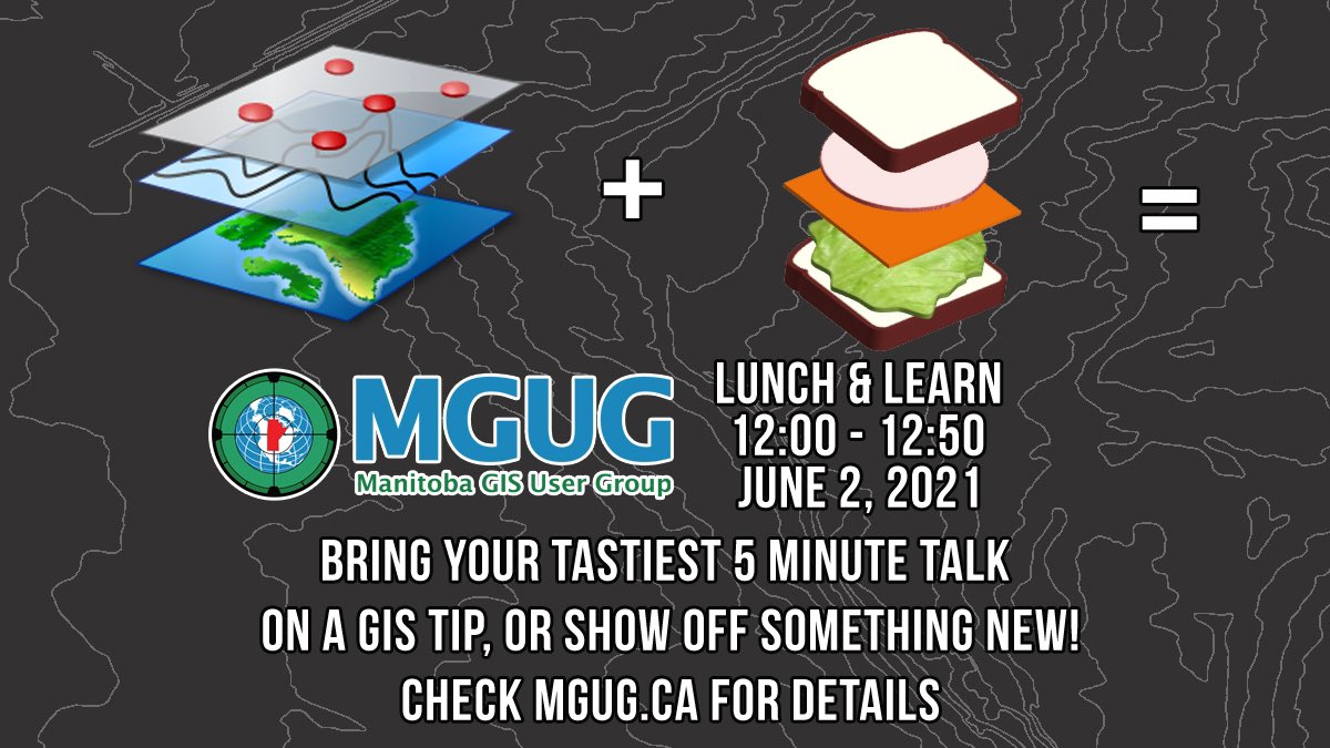 test Twitter Media - Join MGUG for a Lunch & Learn Geo Potluck on June 2 at 12:00pm! Head to https://t.co/b1xr3aWkuI for the link to RSVP on Meetup! Everyone is welcome, new members are encouraged to join! 🌯 #GIS #mgug #mgug2021 #manitoba #gisprofessional https://t.co/DNXIwCLk0r