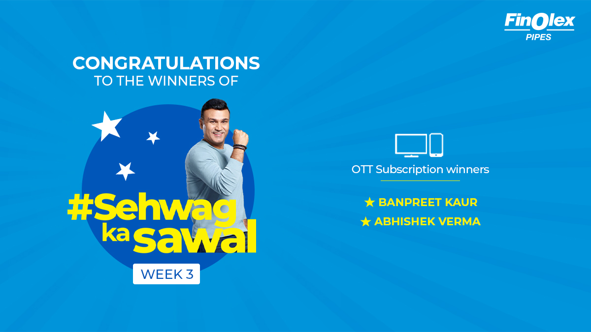 #Winners #ContestAlert Congratulations to the winners of #SehwagKaSawaal Week 3.  Winners are requested to DM us their email id & phone number to claim their prize. #StayTuned for our next question.  #Contest  #VirenderSehwag #Pipes #CPVCPipes #WinnerAnnoucement #Win https://t.co/NaUSHHPW05