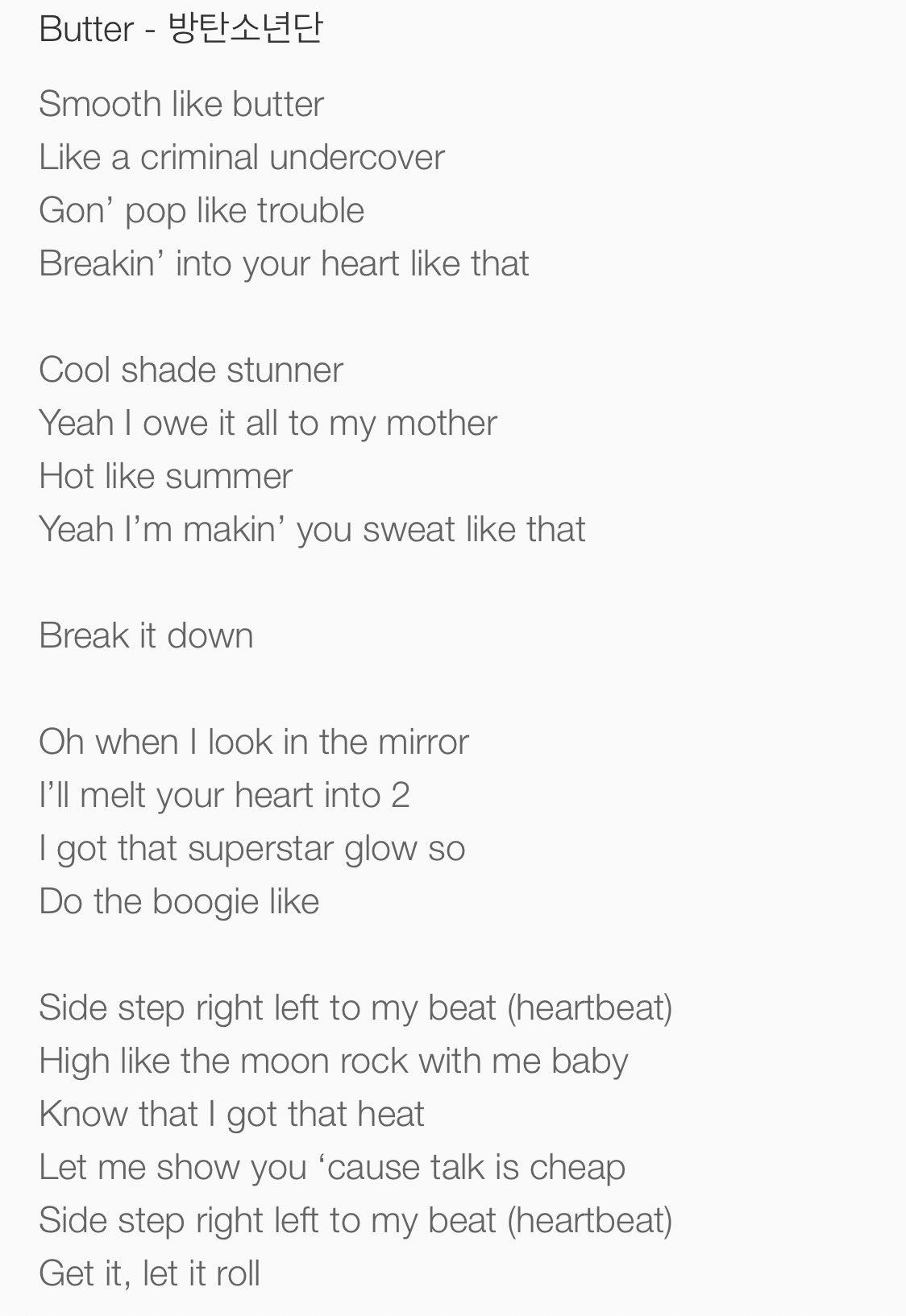 Butter Lyrics Bts English