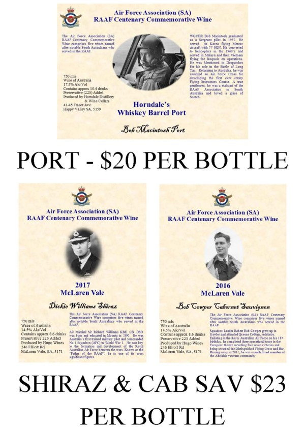 test Twitter Media - Air Force Association - SA Division offers five RAAF Centenary Commemorative Wines for sale. They can be purchased from the AFA Office at Torrens Parade Ground, 9am - 2pm Monday, Wednesday and Friday. For more information email: raafaad@internode.on.net https://t.co/6g6SBijOHk