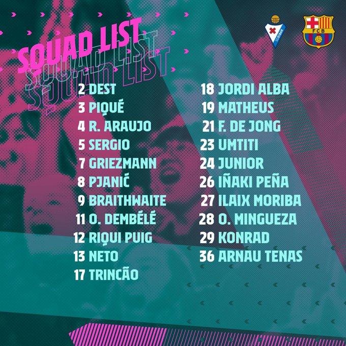 مفاجآت في قائمة برشلونة الأخيرة للموسم 1