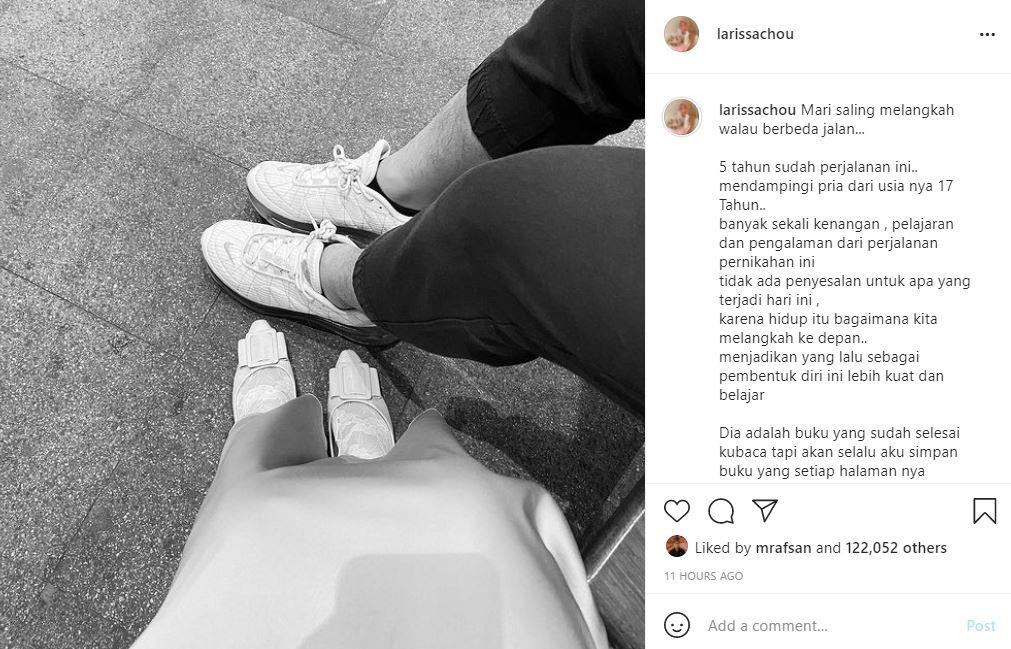 Curahan hati Larissa Chou setelah resmi melayangkan gugatan cerai pada suaminya, Alvin Faiz.