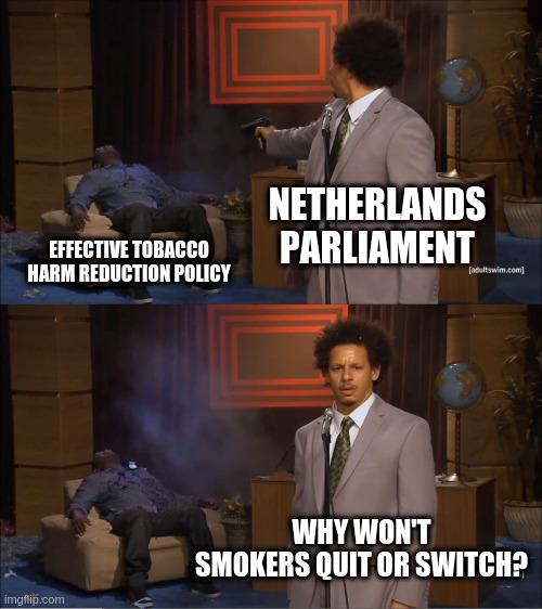 Die Niederlande verleiden  aufhörwilligen Rauchern ab nächsten Sommer den Umstieg auf die weniger schädliche Alternative. Die Raucherraten werden stagnieren oder steigen. Der einzige Weg das Gesicht zu wahren werden in den Folgejahren noch härtere Maßnahmen sein.