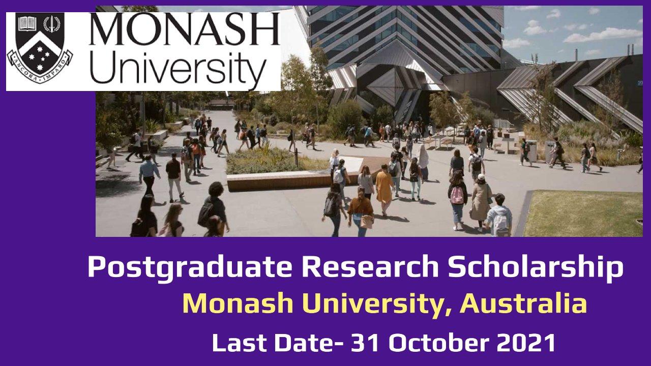 Postgraduate Research Scholarship by Monash University, Australia
