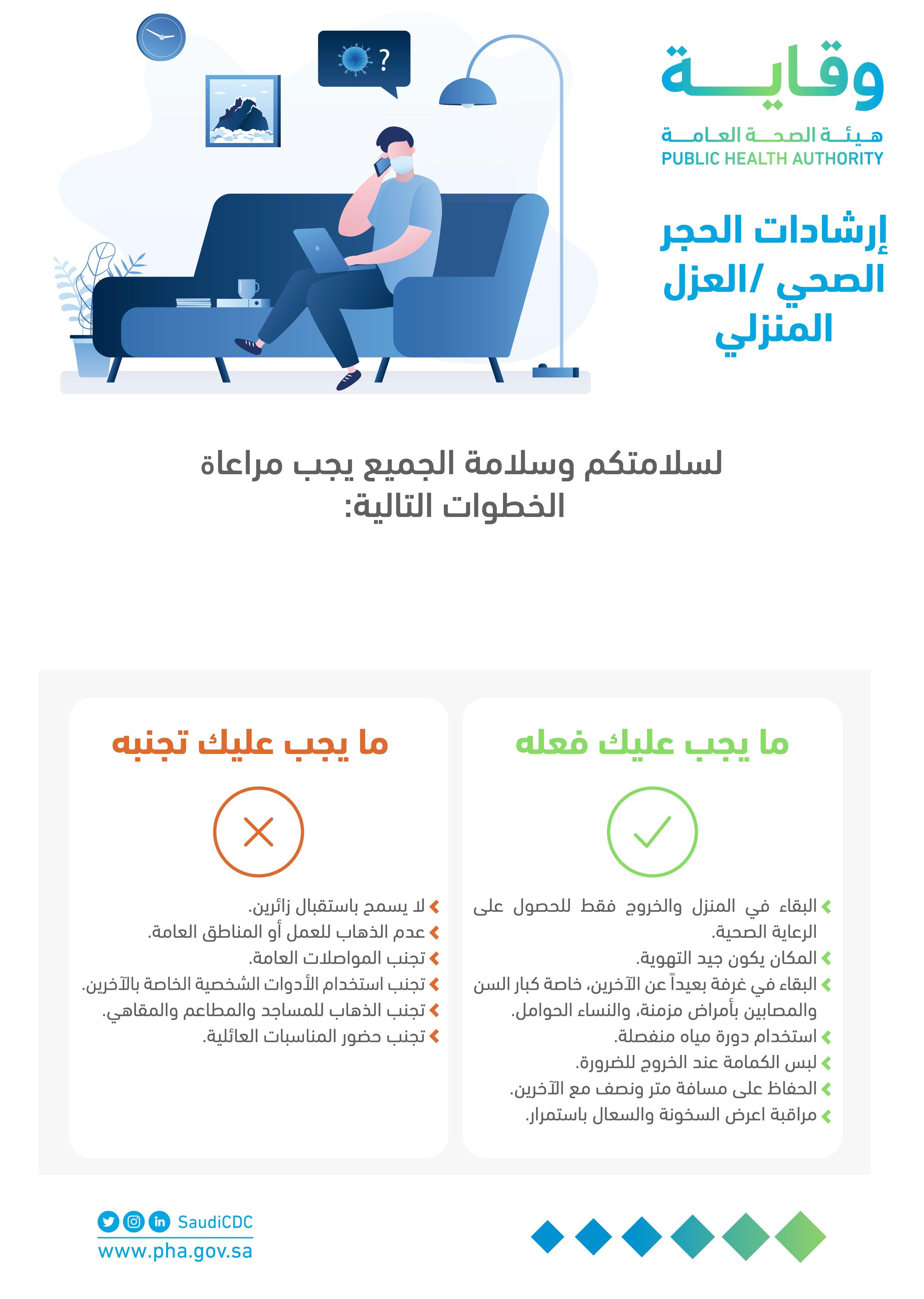 إرشادات الحجر الصحي - العزل المنزلي #هيئة_الصحة_العامة #وقاية