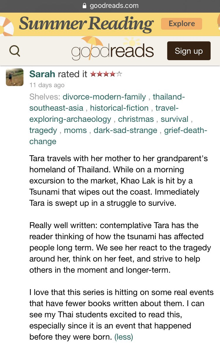 """Thanks for the positive review of my middle grade historical fiction novel """"Tara and the Towering Wave: An Indian Ocean Tsunami Survival Story."""" #childrensbooks #kidlit #read #childrensliterature #kidsbooks @capstonepub #asianauthors #aapiheritagemonth #aapi https://t.co/1F9ByOSML4"""
