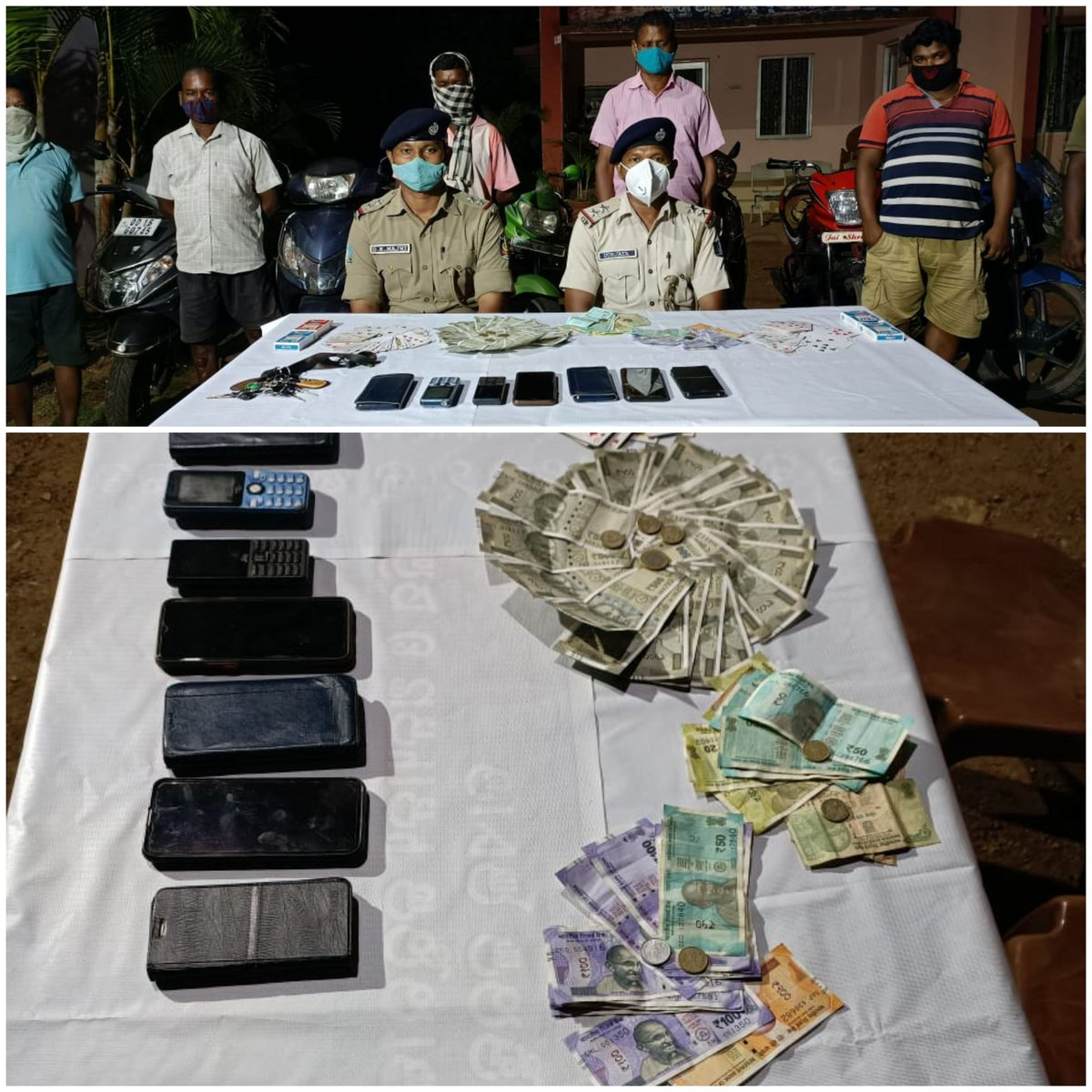 Kutra Police detected a gambling case and seized cash of Rs.21000/-, 6 mobile phones, 6 bikes & other playing articles. 6 person have been https://t.co/iSJdM0aWXv case No 62/21 U/s 269/270 IPC/3 OPG act was registered. @DGPOdisha @odisha_police @digwrrkl @sagarika_nath https://t.co/33II5PSWAk