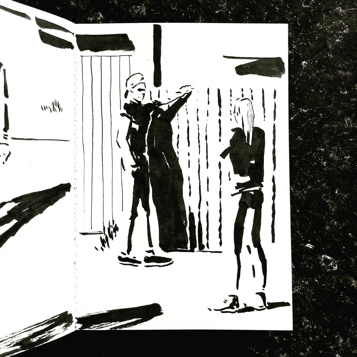 From the Inside 2 Day 218 (334 total) #isolation study Kitchen window Passerby No 245/246 #isolationlife #stayathome #lockdown #lockdown2uk #sketchbook #sketch #drawing #draw #doodle #ink #lineart #lifedrawing #figuredrawing #walk #artoftheday #art #artwork #artist #illustration https://t.co/MFEcwT31sF