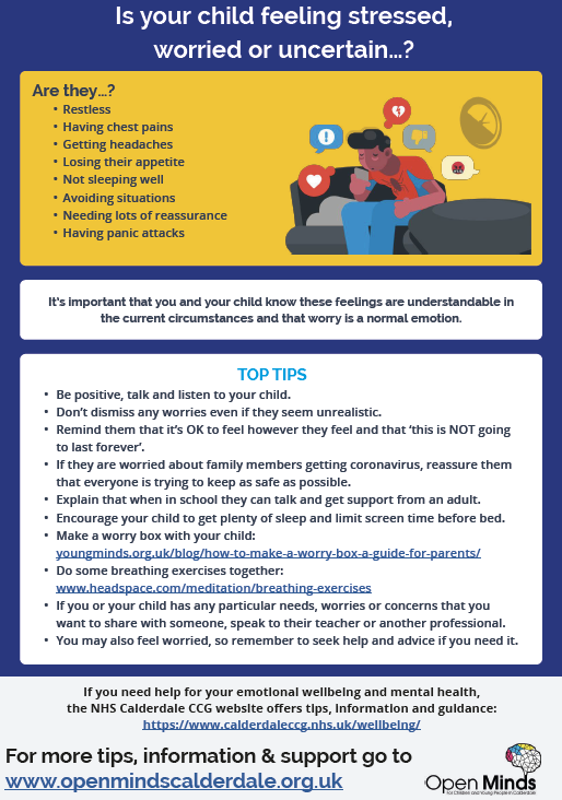 Feeling stressed, worried or uncertain? This leaflet provides some helpful tips and support for parents and students 💜 Download your copy here: https://t.co/bTgP2IQbnc @Calderdale  #MentalHealthAwarenessWeek2021 #OpenMinds