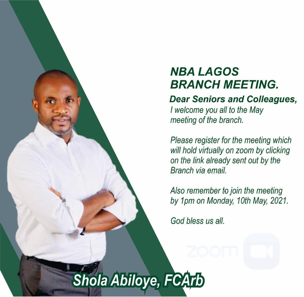 Dear Friends, the May meeting of the NBA Lagos Branch is scheduled to hold by 1pm on Monday, 10th May, 2021.  Please register here:   https://t.co/OiLxaUY1cd https://t.co/mhGWQY53nD