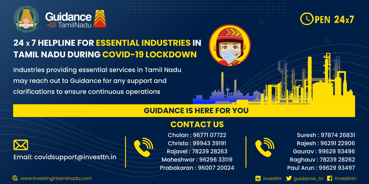 Guidance is committed to providing round-the-clock support for those of you who have made Tamil Nadu your home. Industries providing essential services can connect with our 24x7 helpline for any assistance during this #COVID19 #lockdown.  #ThriveInTN #Helpline @pibchennai