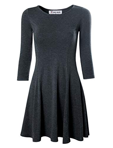 2 TAM WARE Women's Casual Slim Fit and Flare Round Neckline Dress