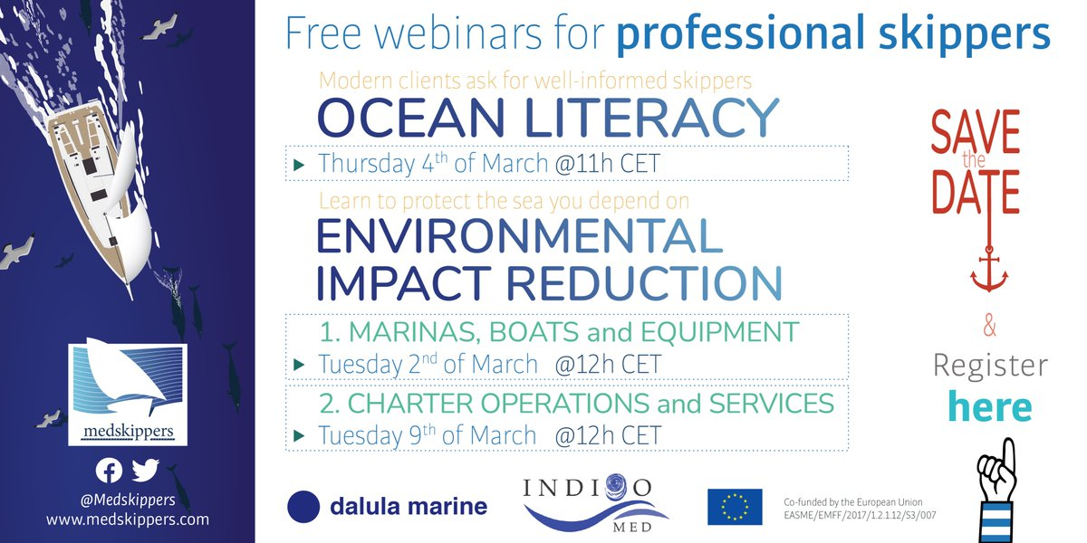 The @medskippers project created2️⃣webinars for #skippers on #oceanliteracy & environmental impact reduction!🚯 🤗Check out the Boats & Equipment chapter⬇️ ✅Impact reduction & sustainability for boats & equipment: https://t.co/ruG7pxTIRY  ✅Ocean Literacy: https://t.co/SNO8hBpxJe