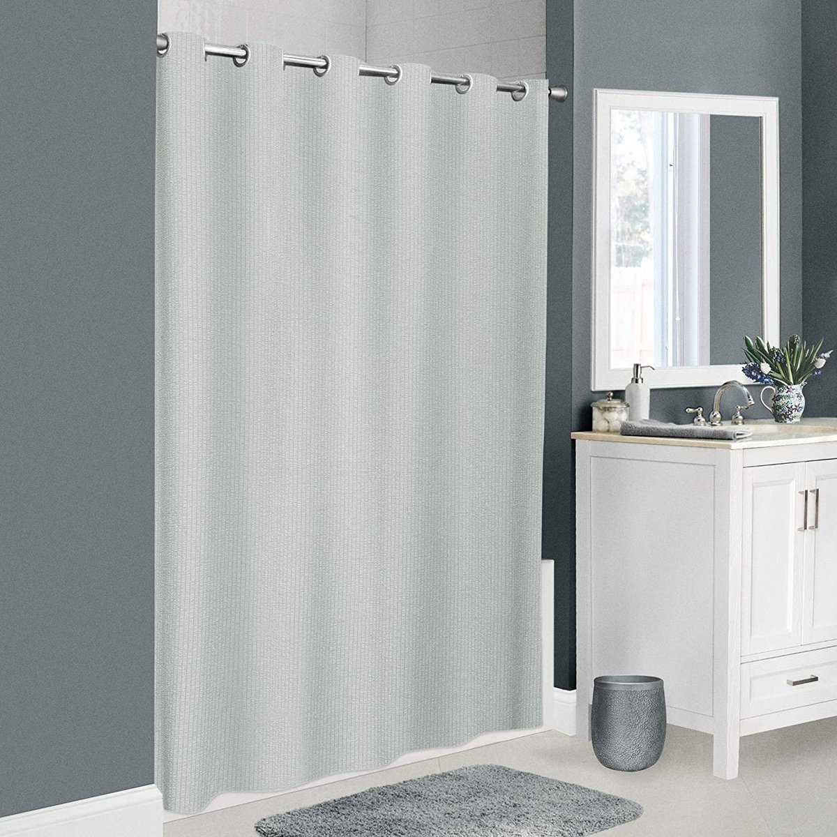 Norwalk Seersucker Fabric Shower Curtain, 70 inches x 74 inches, Grey  Only $7.94!!  2