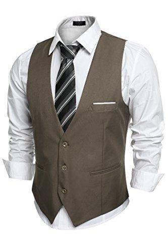 2 COOFANDY Men's V-Neck Sleeveless Slim Fit Jacket Casual Suit Vests