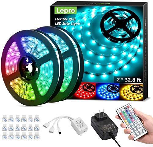 2 Lepro 65.6ft LED Strip Lights, Ultra-Long RGB 5050 LED Strip