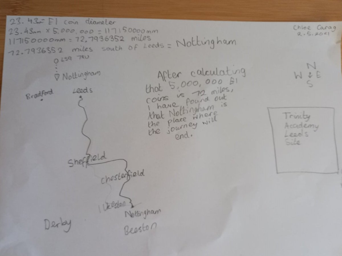 Check out this fab entry to our latest competition ✨ Brilliant work, Chloe... we love that you have drawn the map for us 🗺️🤩✏️ #Maths   Give it a go! If five million one-pound coins are laid edge to edge starting at the site of TAL & heading south, how far will they reach? 🤔💜