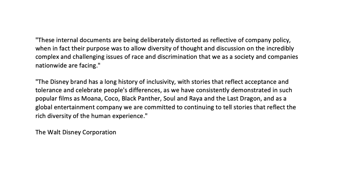 "Disney has released a statement claiming that my reporting ""distorted"" their antiracism program. This is false. I published direct quotations, contextual screenshots, and the original source documents in their entirety.  Disney is distorting the truth—and I won't stand for it. https://t.co/w7eEcKyduq"