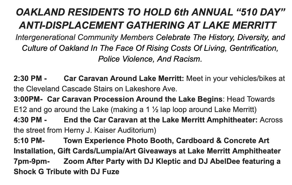 "Oakland ""510"" Day Events - Antidisplacement @ Cleveland Cascade Stairs, Lake Merritt"