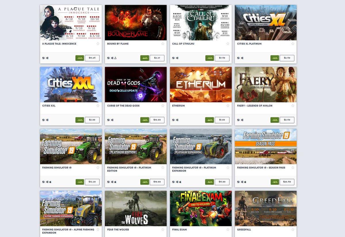 (PCDD) Focus Home Interactive Spring Sale via Humble Bundle. 2