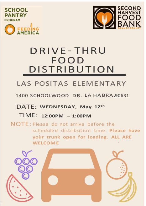 Don't forget to stop by Las Positas on Wednesday from 12-1 for our food distribution!!  No olviden pasar por Las Positas el miercoles para de 12-1  nuestra distribucion de alimentos mensual!!  @laspositaslions @LHSchools @LaHabraCA @LHCSDReadiness @lhcsd_vlm https://t.co/cbBZbzIxbP