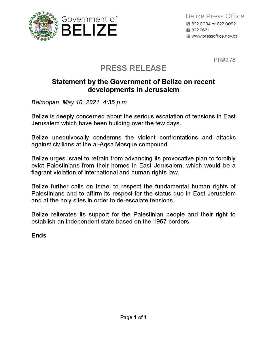 test Twitter Media - PRESS RELEASE: Statement by the Government of Belize on recent developments in Jerusalem https://t.co/w0AkCFx0QY