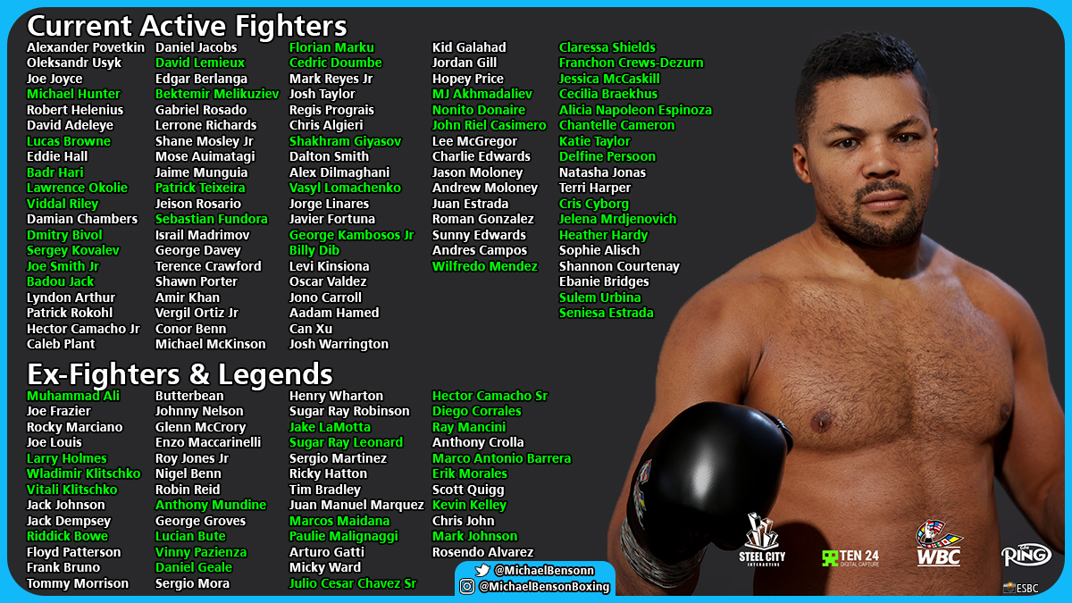 """Michael Benson on Twitter: """"Latest update to the roster for upcoming new boxing game ESBC (eSports Boxing Club) - newest names in green. There will also be the option to create fighters"""