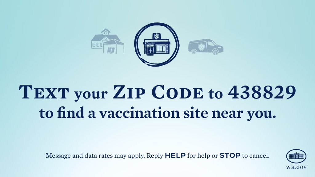 It's never been easier to get vaccinated. Text your zip code to 438829 to find a vaccination site near you.