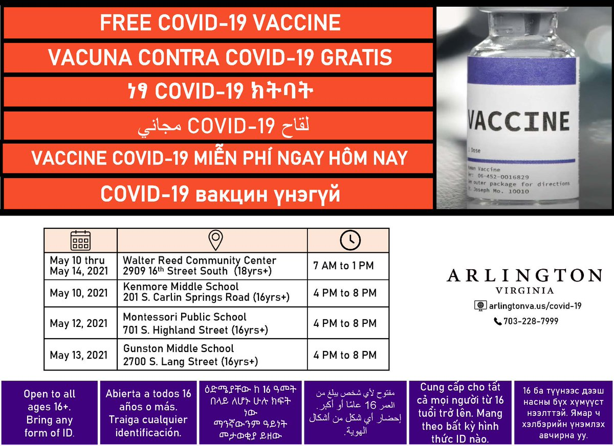 .<a target='_blank' href='http://twitter.com/ArlingtonVA'>@ArlingtonVA</a> is hosting Free COVID-19 Vaccine clinics this week from 4-8 p.m. at Kenmore and Gunston middle schools and Montessori Public School of Arlington as well as the Walter Reed Community Center. Vaccines clinics are open to everyone 16 and up. <a target='_blank' href='https://t.co/2KB4veJgz1'>https://t.co/2KB4veJgz1</a>