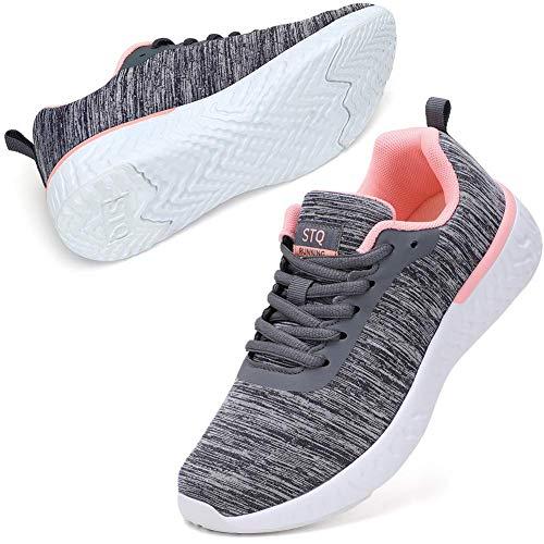 2 STQ Walking Shoes for Women Lace Up Lightweight Tennis Shoes