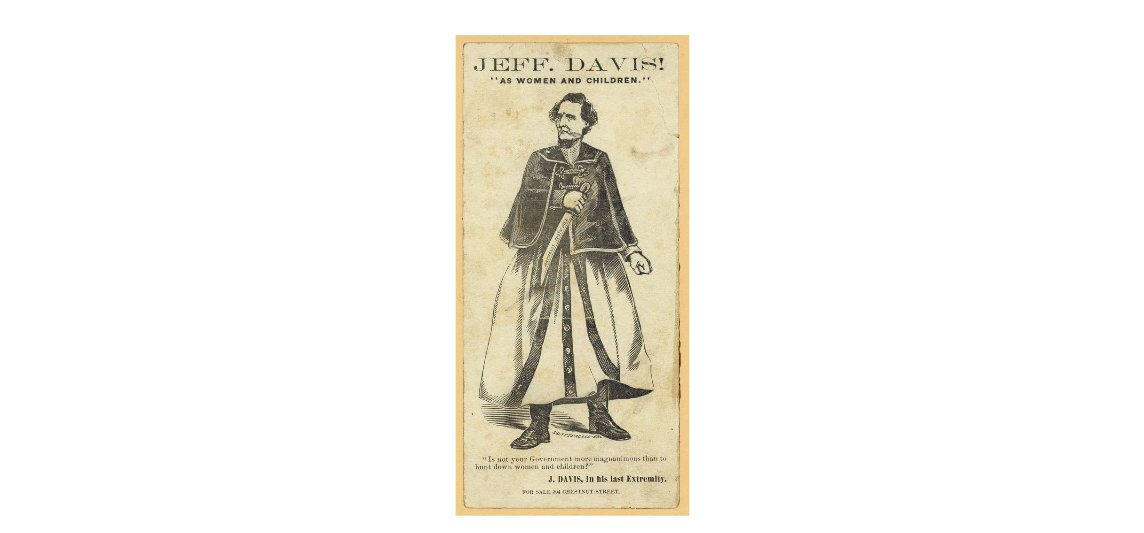 #OTD in 1865, Jefferson Davis, president of the Confederacy was captured by US soldiers. This cartoon shows Davis dressed in women's clothes to avoid being captured, though he said it was his wife's shawl. He was imprisoned for two years, indicted on treason, but not tried. https://t.co/aqWeEpUZb8
