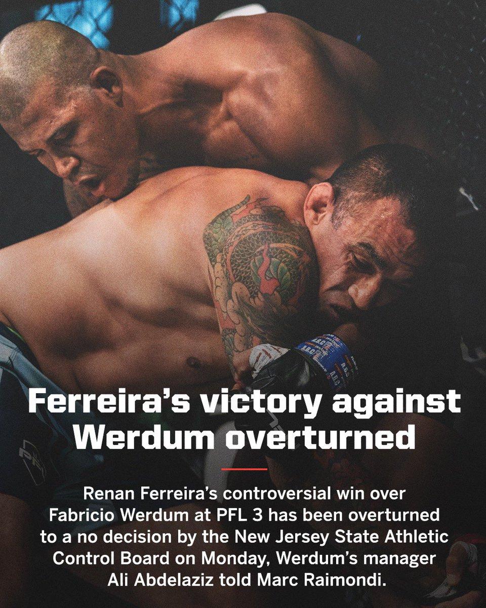 Fabricio Werdum's controversial loss last week has been changed to a no decision.   (via @marc_raimondi) https://t.co/DP9IgM0Kr2