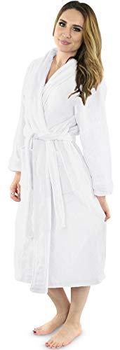 2 NY Threads Womens Fleece Bathrobe - Shawl Collar Soft Plush Spa Robe