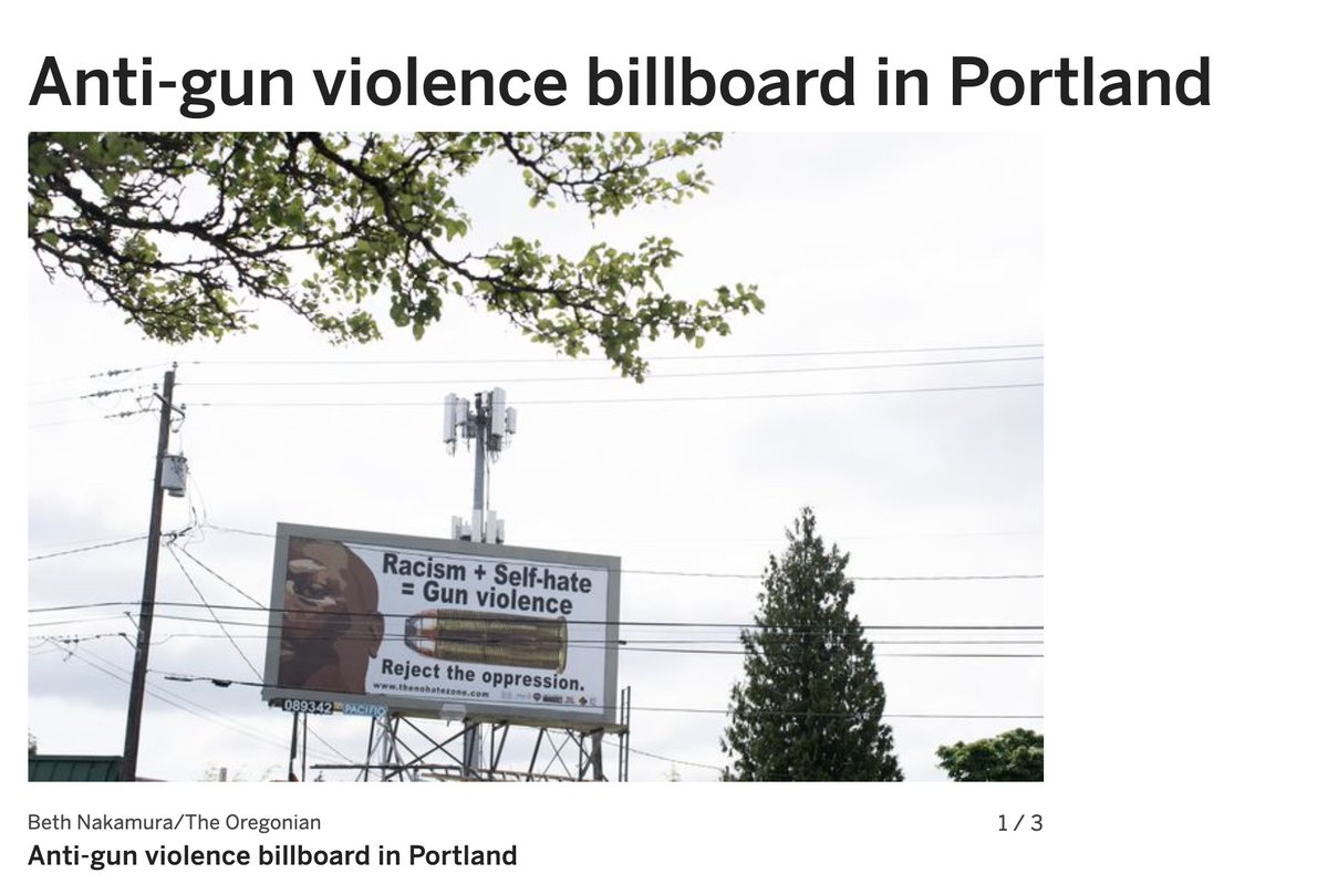 "Billboard campaign in Portland by critical race theory group @thenohatezone blames white racism & slavery for black-perpetrated gun violence. Portland is set to break its record on shootings after the police gun violence reduction team was abolished last year for ""racial justice"" https://t.co/xh98gHsbc6"