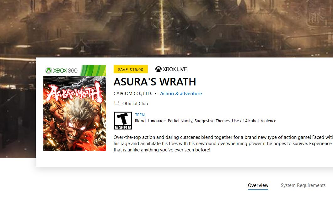 ASURA'S WRATH (X1/360) $3.99 via Xbox.