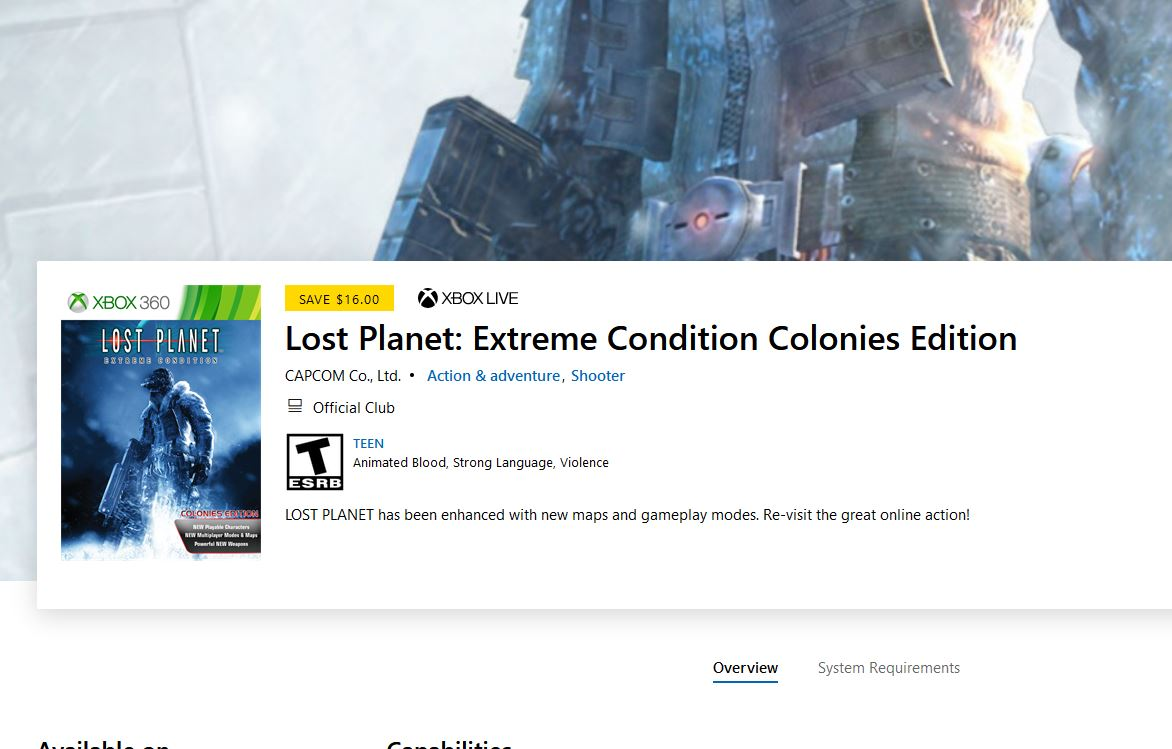 Lost Planet: Extreme Condition Colonies Edition (X1/360) $3.99 via Xbox. 2