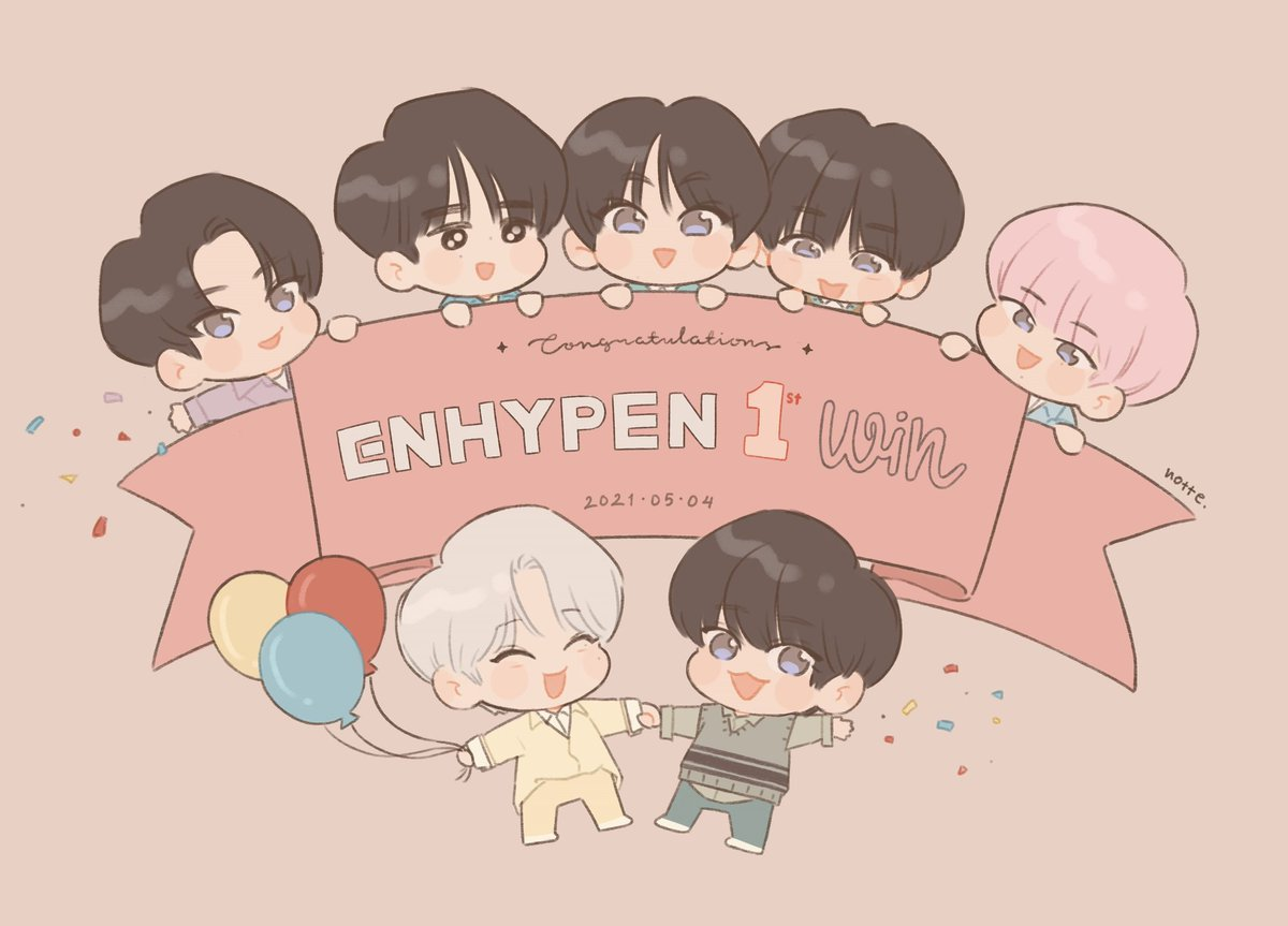 RT @nottelatte: Congratulations for the 1st win!!🥳🎉💖💕💕  #ENHYPEN #ENHYPENfanart #ENHYPEN1stWin https://t.co/9tjkV9Rhe1