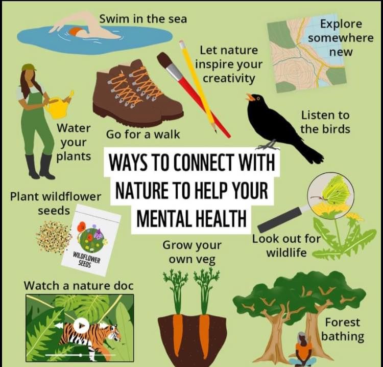Some great ideas 💡 Although if you're going swimming, please only do so with safety precautions and with professionals! #MentalHealthAwarenessWeek #wildlife #NatureinMind #mentalhealth #mentalhealthmatters #mentalhealthadvocate