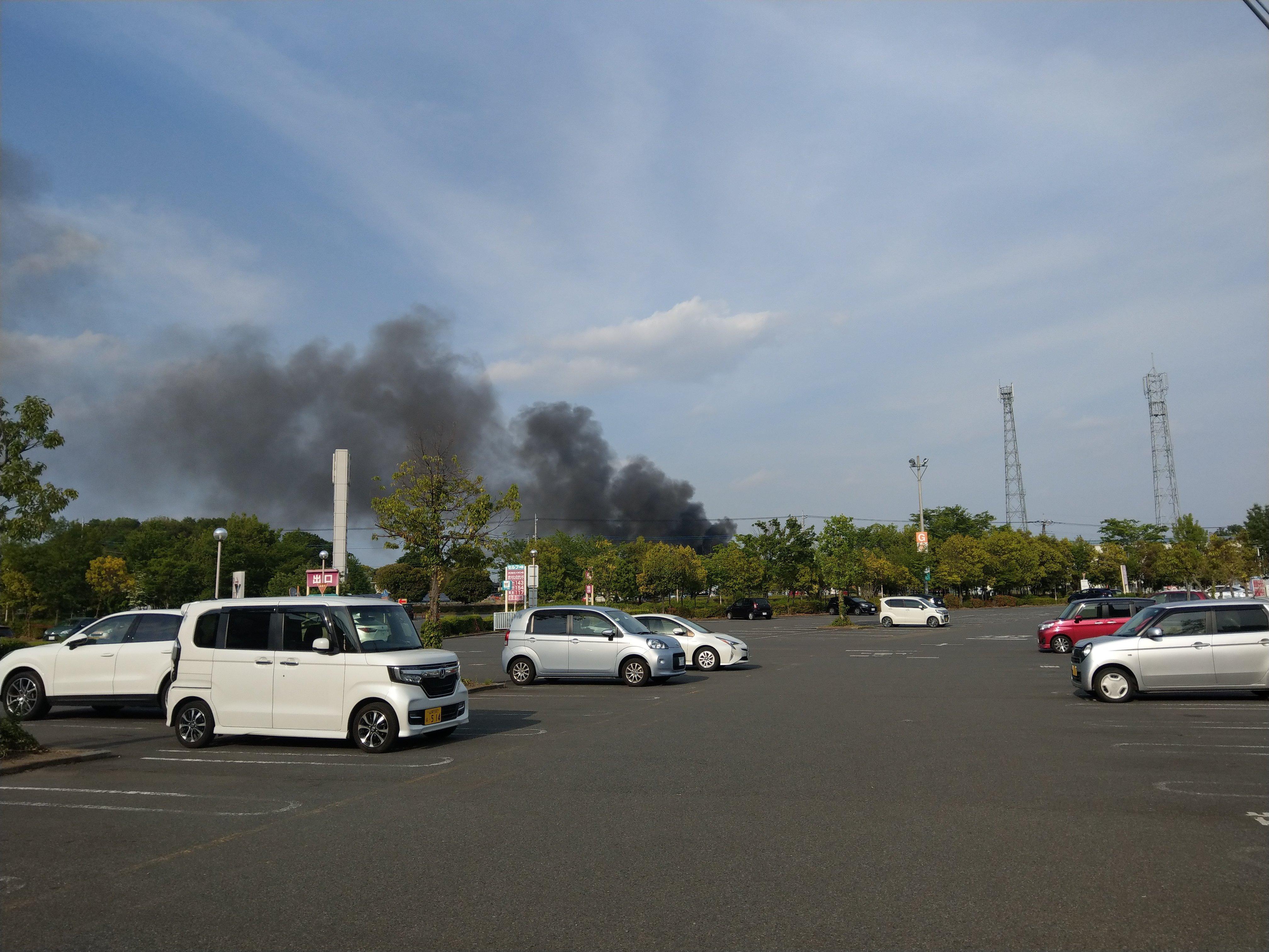 太田市茂木町で火事が起きている画像