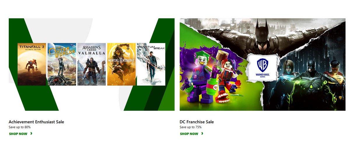Achievement Enthusiast Sale & DC Franchise Sale via Xbox.