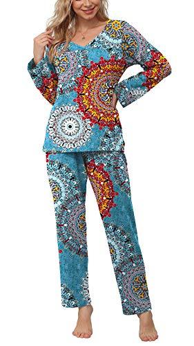 2 POKWAI Women's Pajamas Sets Long Sleeve Sleepwear Nightwear