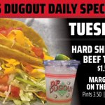 Tuesday Taco time at DJ's Dugout! 🌮😁🌮 Feed your Taco cravings with $1.50 Hard Shell Beef Tacos and $7 32oz Margaritas (or $3.50 Pints)! Let's do this!
