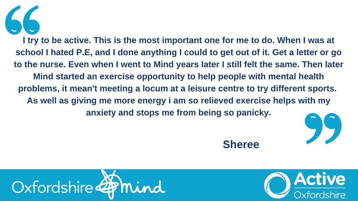 Sheree didn't enjoy PE at school but had the opportunity to find activity she liked with @oxfordshiremind. Another inspiring story from our partnership highlighting the benefits of physical activity for #MentalHealthAwarenessWeek https://t.co/gVw5LZM8je