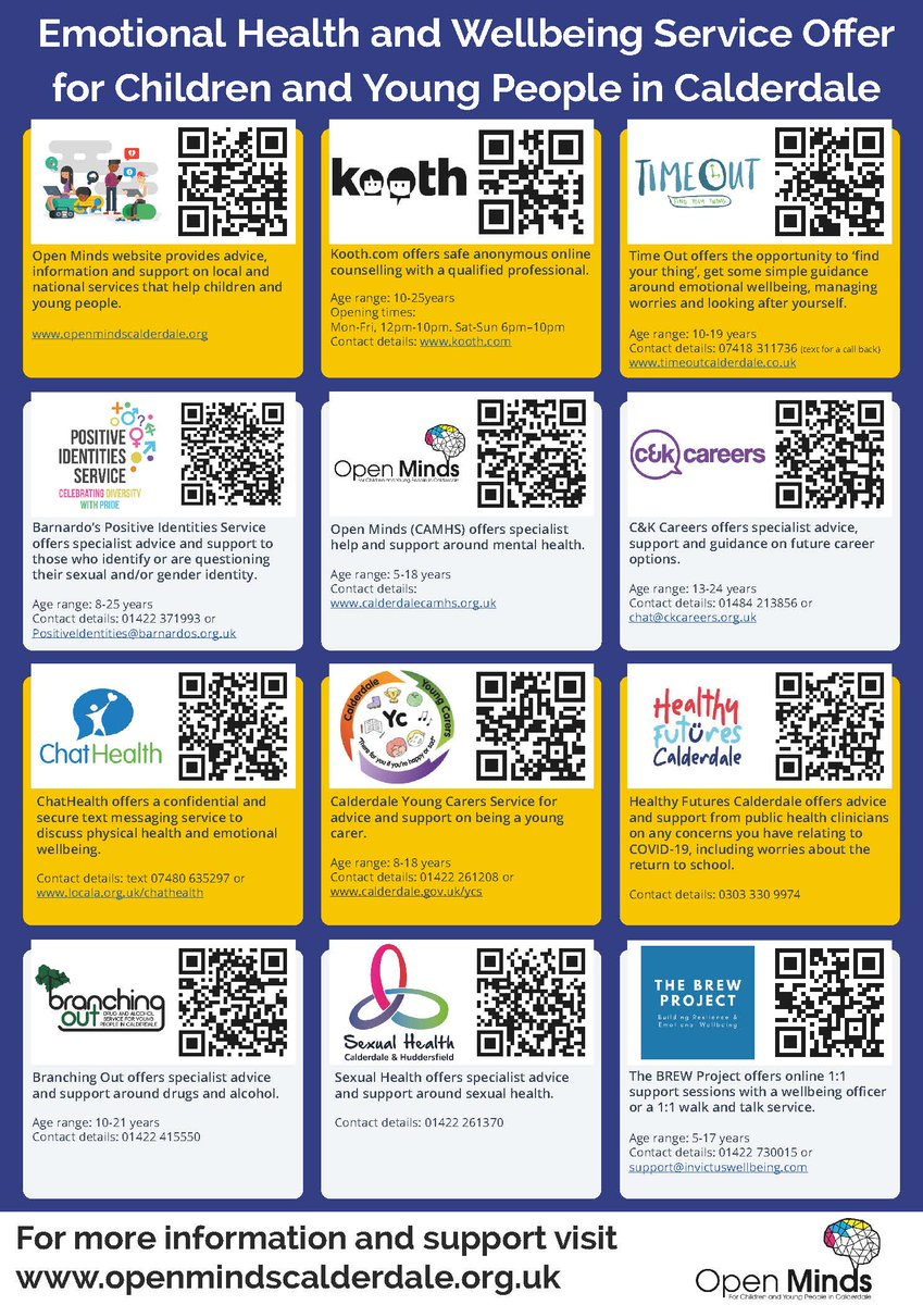 💜 Mental Health Awareness Week 💜 Scan the QR codes in the poster below to visit any of the emotional health & wellbeing services for children and young people in #Calderdale. @Calderdale #OpenMindsCalderdale #MentalHealthAwarenessWeek2021