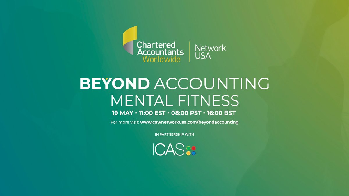 💪Beyond Accounting - Mental Fitness💪  Join Dee France, #CASupport and Student Wellbeing Manager, at this upcoming @CharteredWW Network #USA and @ICASaccounting event on Wed 19 May at 16:00 BST, for thought leadership on #anxiety in the #workplace.  https://charteredaccountantsworldwide.com/event/beyond-accounting-mental-fitness/