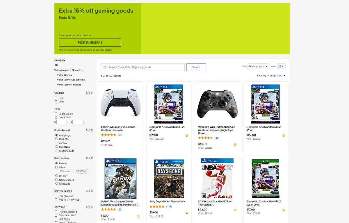 Extra 15% Off Gaming Goods via eBay w/ Code: PICKSUMMER15 .
