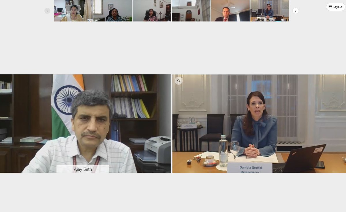 """India in Switzerland & Liechtenstein's tweet - """"4th India-Switzerland  Financial Dialogue was held today, May 11, 2021 in virtual format. Dialogue  was co-chaired by Ajay Seth, Secretary(Economic Affairs) @FinMinIndia &  H.E. Daniella"""