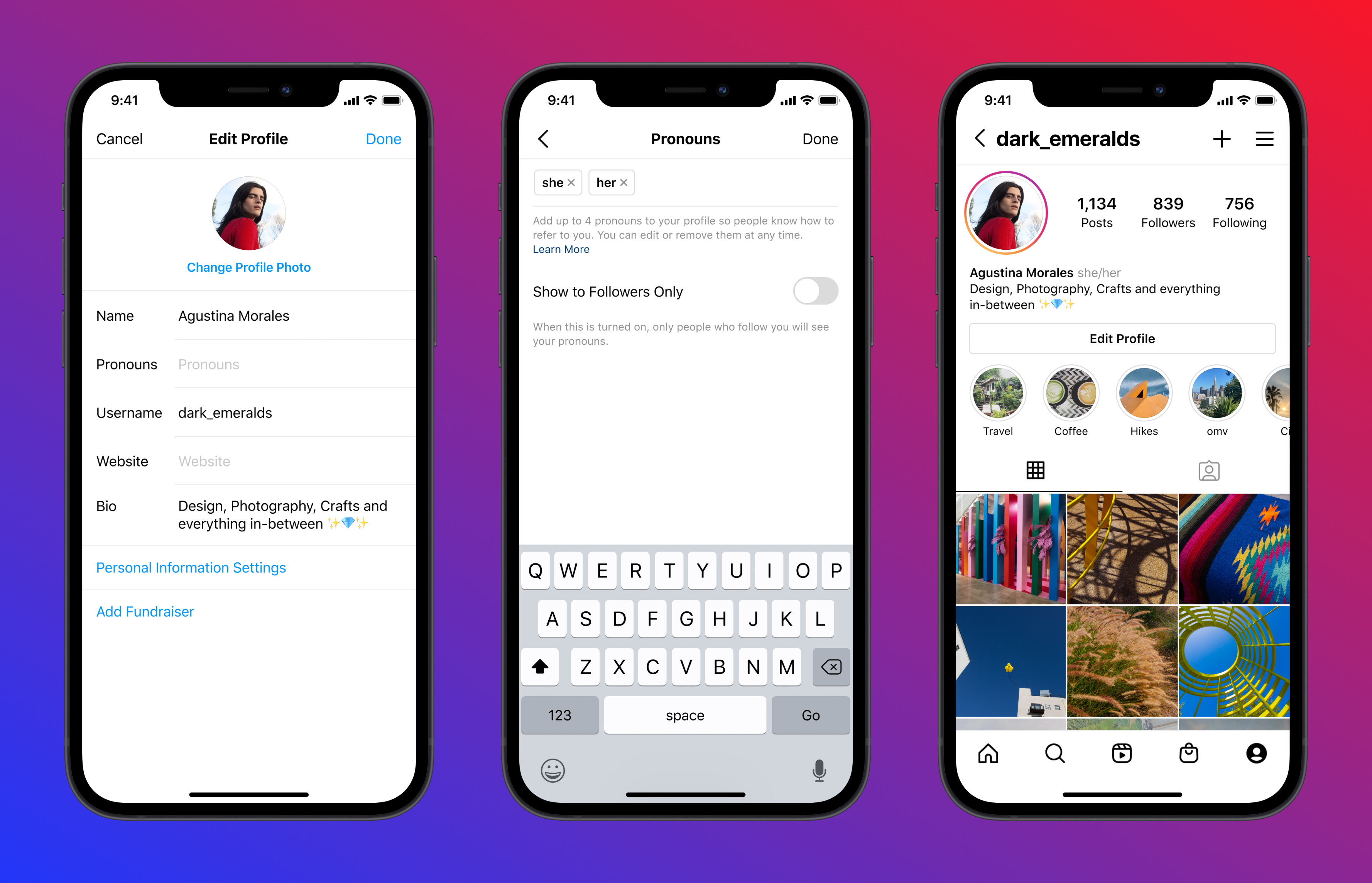 You can now put your preferred gender pronouns on your Instagram profile